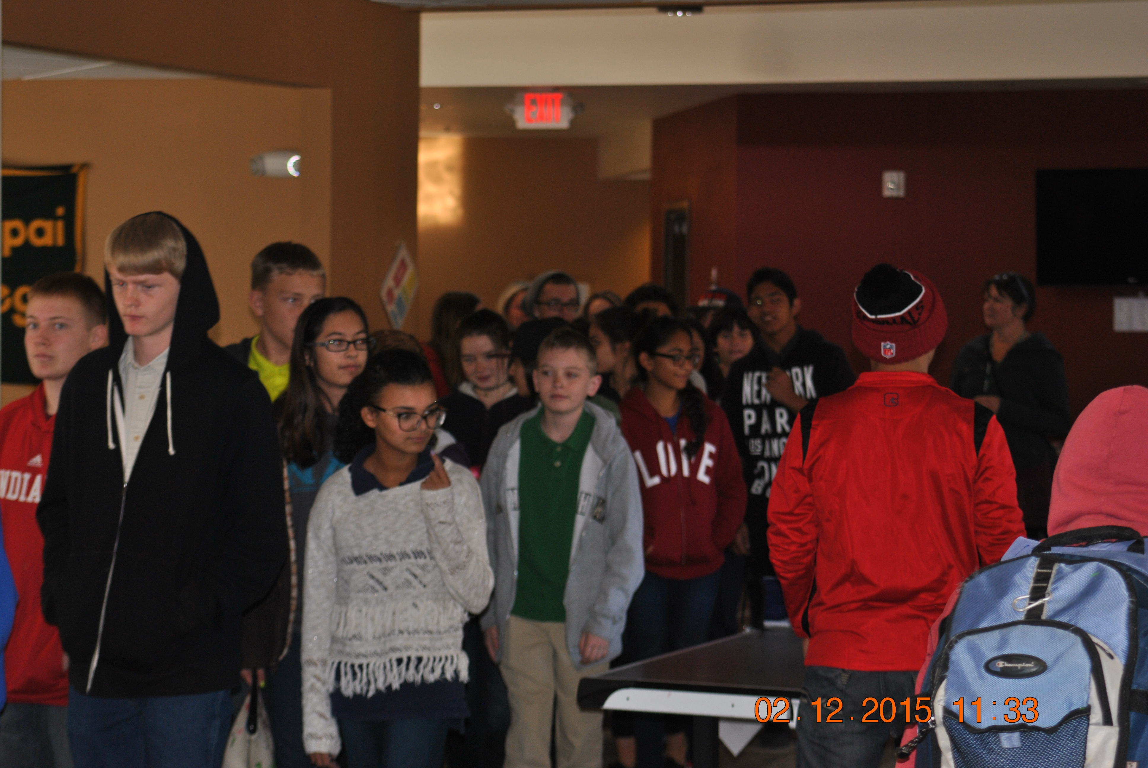 Eighth grade students on a Verde Valley campus tour, in the student union.