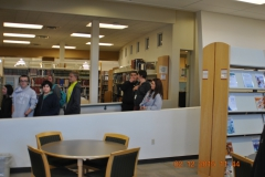 Eighth grade students on a Verde Valley campus tour, in the library.