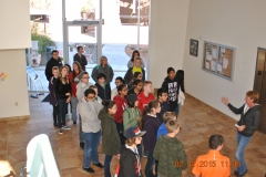 Eighth grade students on a Verde Valley campus tour, in Building M lobby.