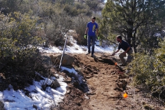 Digging and working on the trail